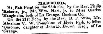 Tompkins_Abraham_marriagetoCarolineBrown_Poughkeepsie_eagle_9March1838_p3_col1_crop